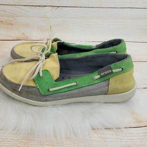 Crocs slip on loafer boat shoes canvas size 10